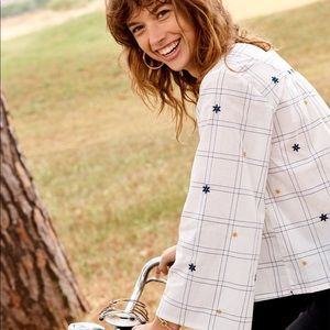 MADEWELL Embroidered Windowpane Square Neck Blouse